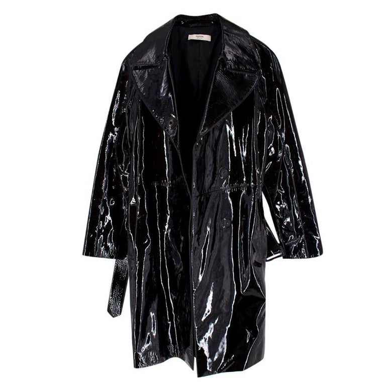 Prada Black Patent Leather Trench Coat US 4 For Sale 1