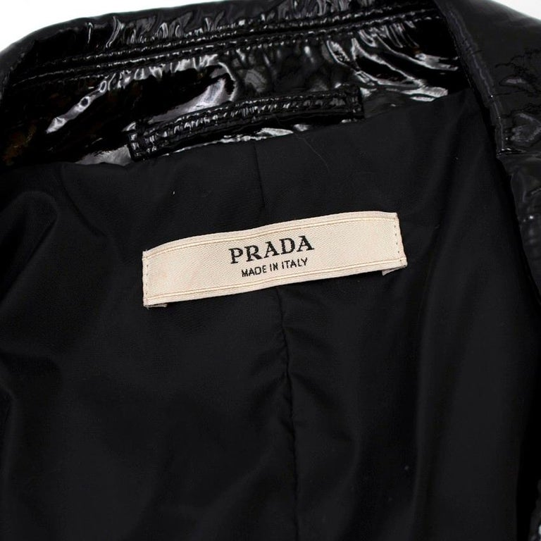 Prada Black Patent Leather Trench Coat US 4 For Sale 3