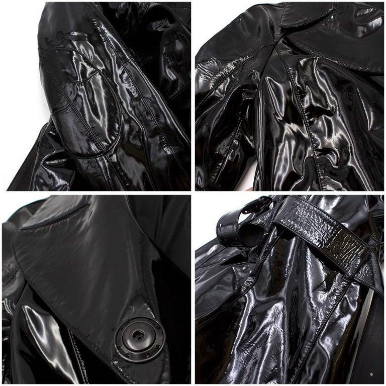 Prada Black Patent Leather Trench Coat XS 6