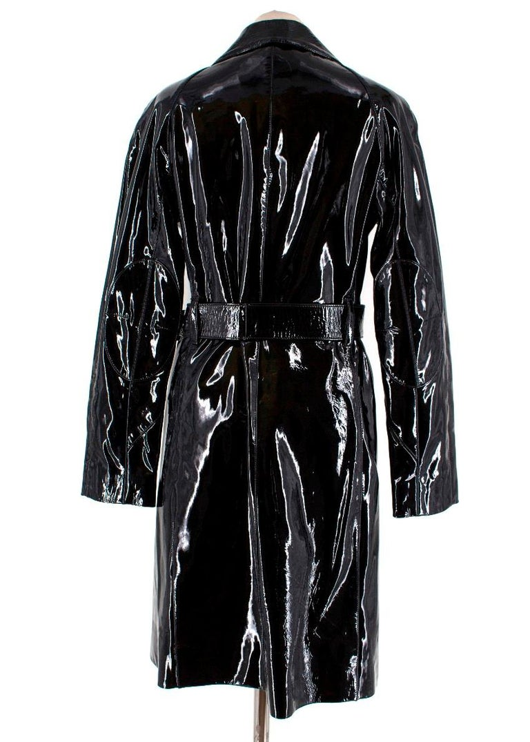 Prada Black Patent Leather Trench Coat XS In Good Condition In London, GB