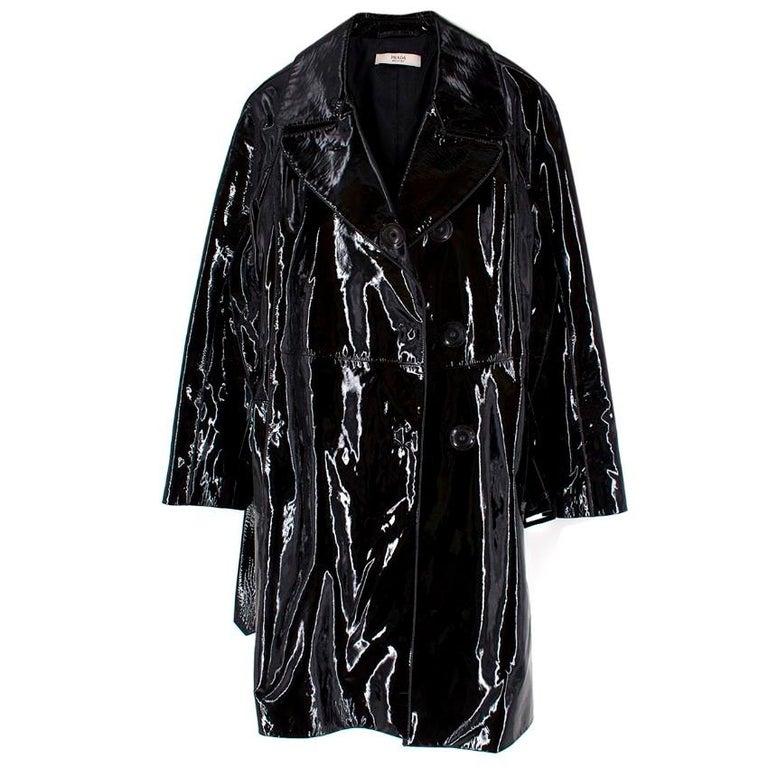 Women's Prada Black Patent Leather Trench Coat XS