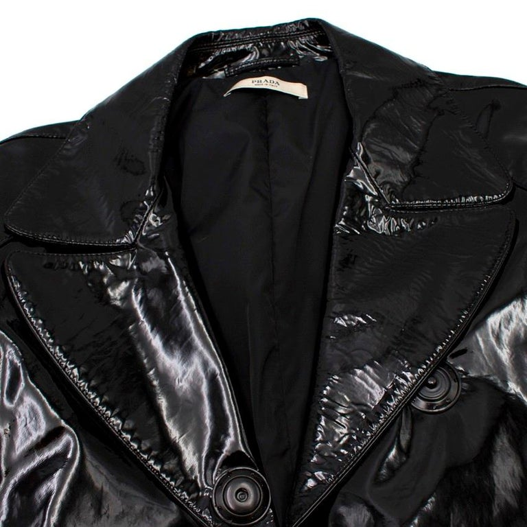 Prada Black Patent Leather Trench Coat XS 2