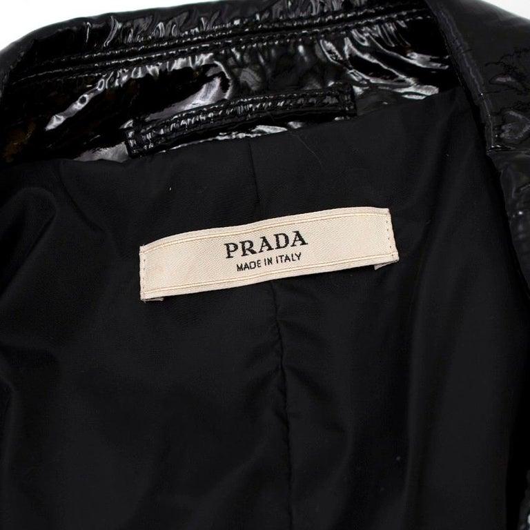 Prada Black Patent Leather Trench Coat XS 3