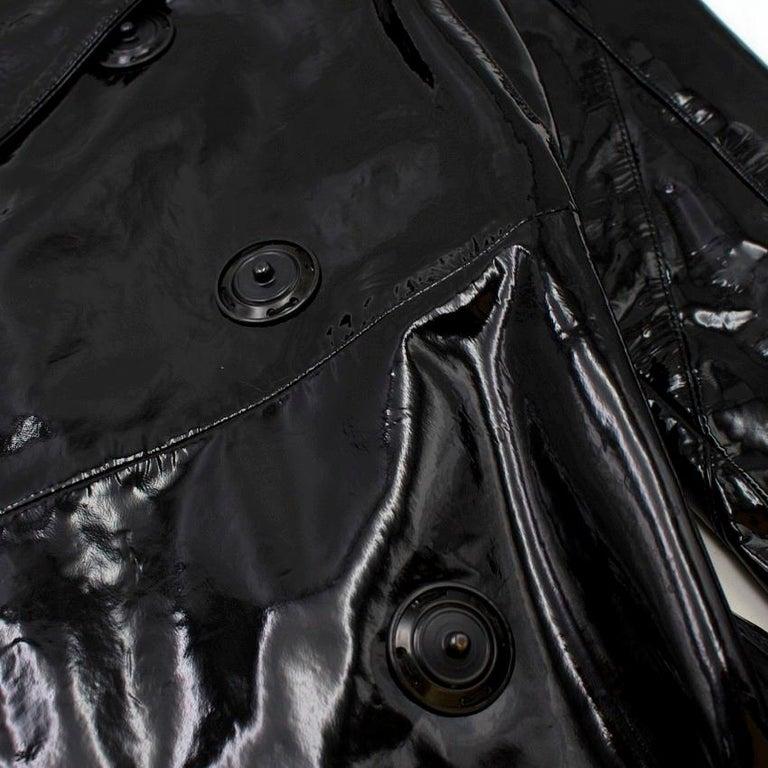 Prada Black Patent Leather Trench Coat XS 4