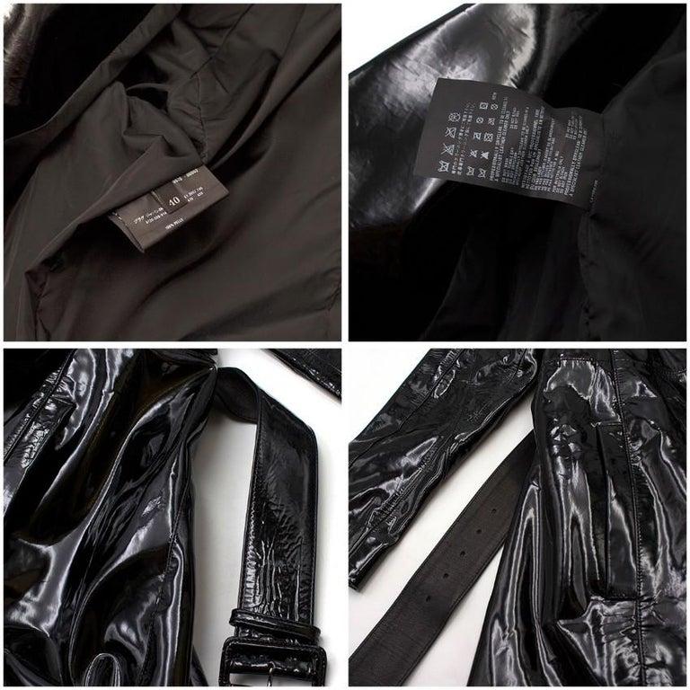 Prada Black Patent Leather Trench Coat XS 5