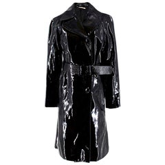 Prada Black Patent Leather Trench Coat XS