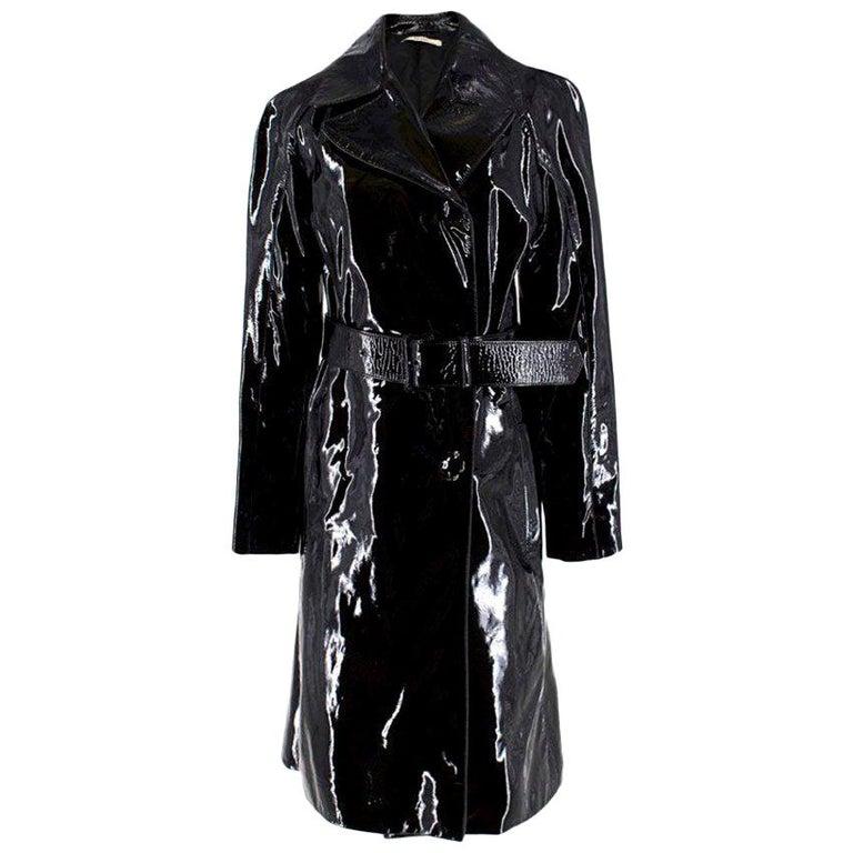 Prada Black Patent Leather Trench Coat XS