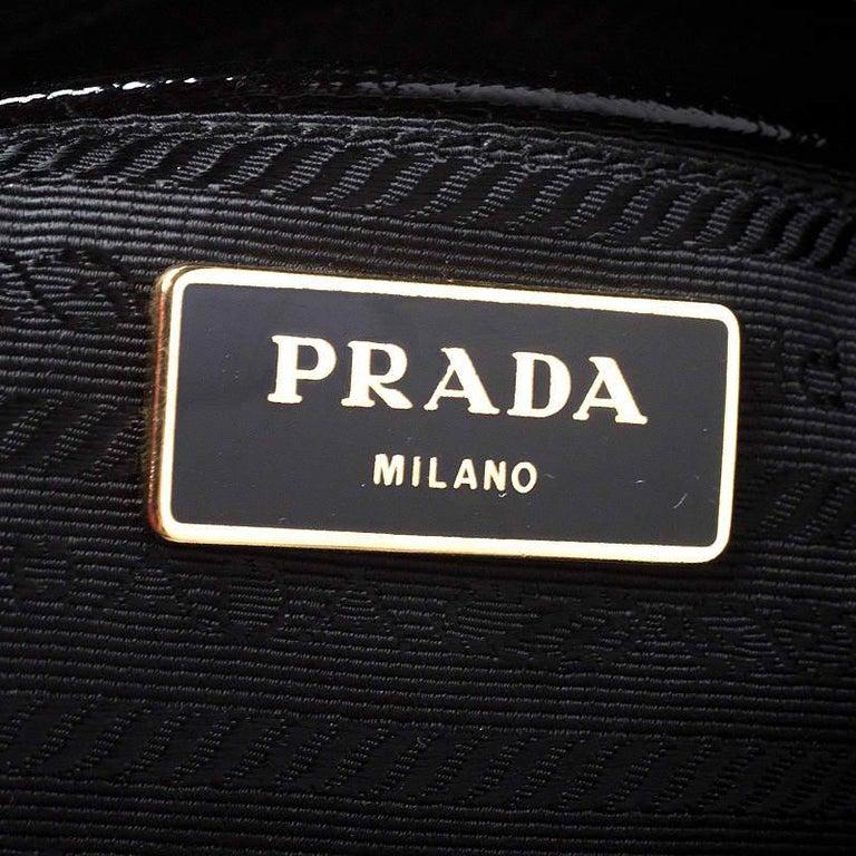 Prada Black Patent Leather Vernic Shopper Tote For Sale 6