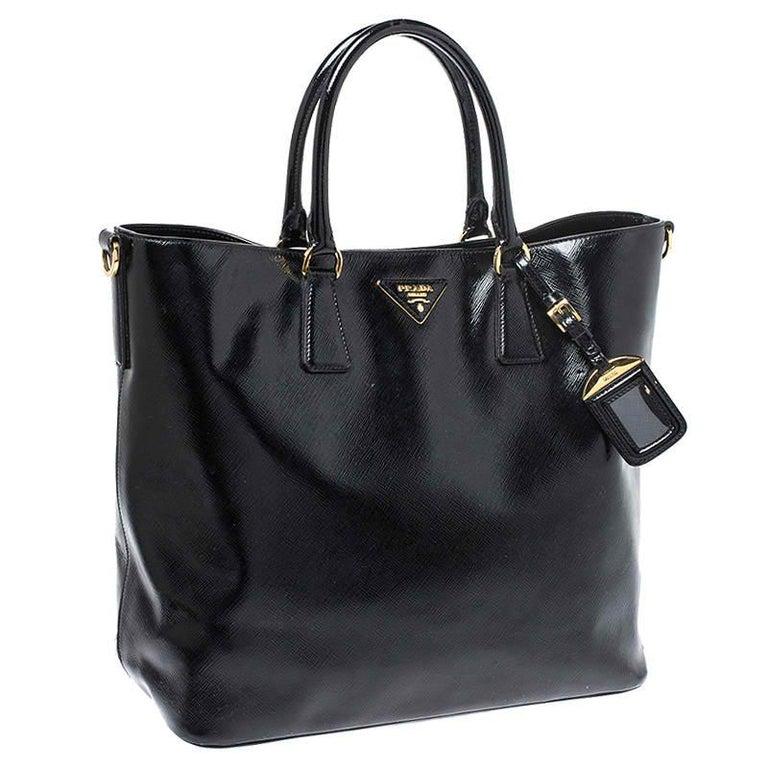 Prada Black Patent Leather Vernic Shopper Tote For Sale 7