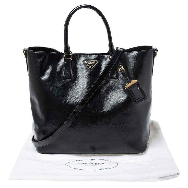 Prada Black Patent Leather Vernic Shopper Tote For Sale 8