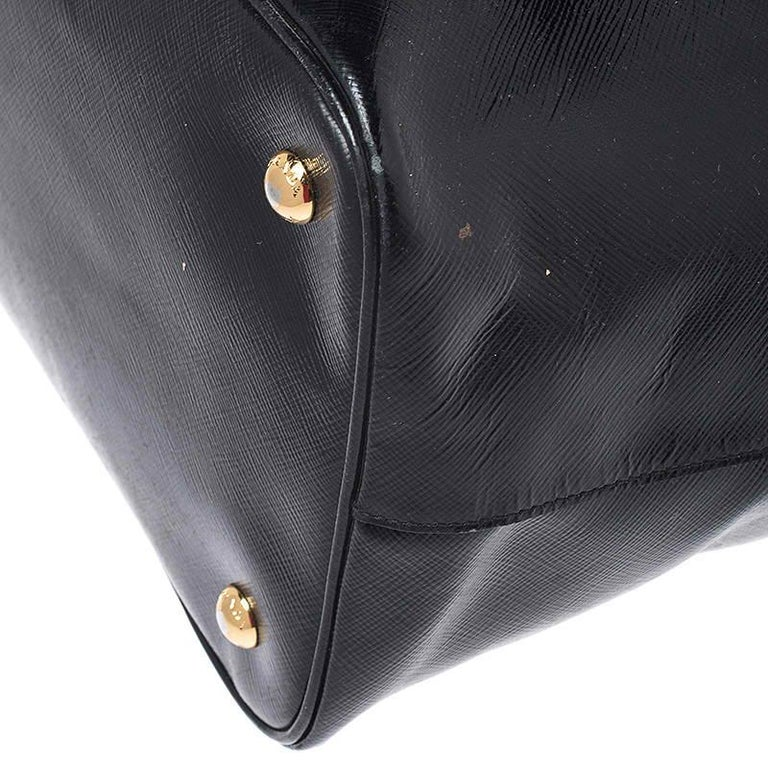 Prada Black Patent Leather Vernic Shopper Tote For Sale 1