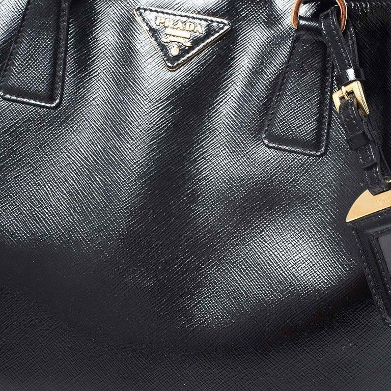 Prada Black Patent Leather Vernic Shopper Tote For Sale 2