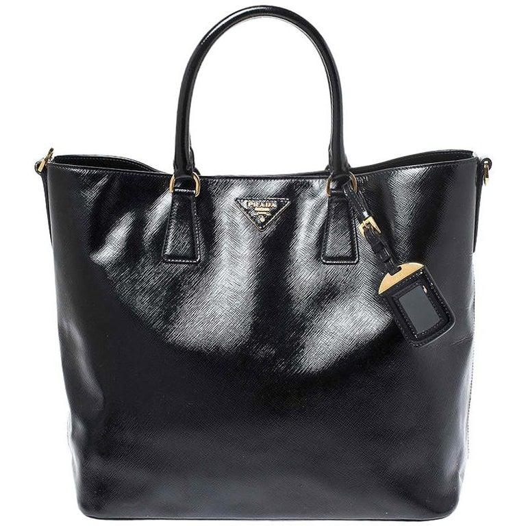 Prada Black Patent Leather Vernic Shopper Tote For Sale