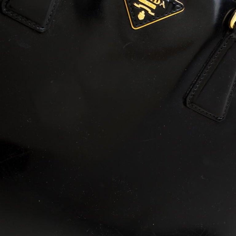 Prada Black Patent Spazzolato Leather Large Double Zip Tote For Sale 6
