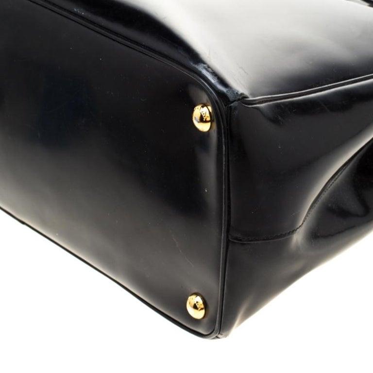 Prada Black Patent Spazzolato Leather Large Double Zip Tote For Sale 1