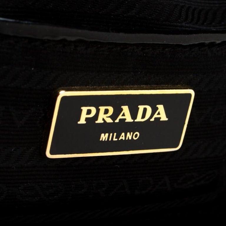 Prada Black Patent Spazzolato Leather Large Double Zip Tote For Sale 3