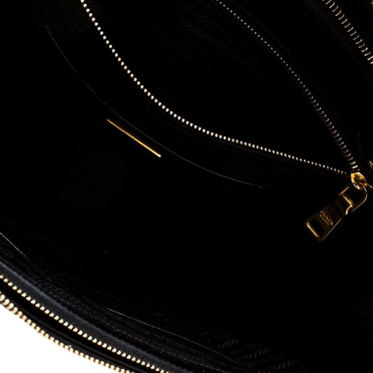 Prada Black Patent Spazzolato Leather Large Double Zip Tote For Sale 4