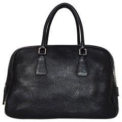 Prada Black Pebbled Leather Briefcase Bag W/ Lock