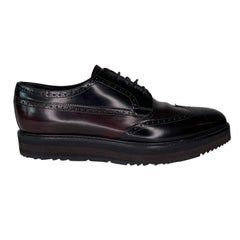 Prada Black Perforated Leather Platform Lace Up Shoes (9 US)