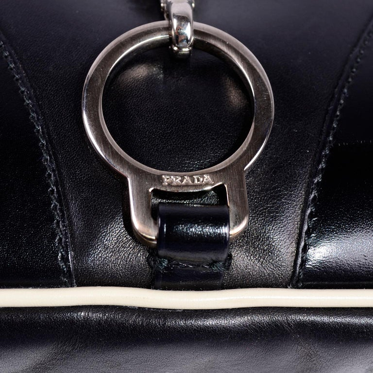 Prada Black Perforated Leather Top Handle Bag W Contrast Trim & Dust Bag  For Sale 7