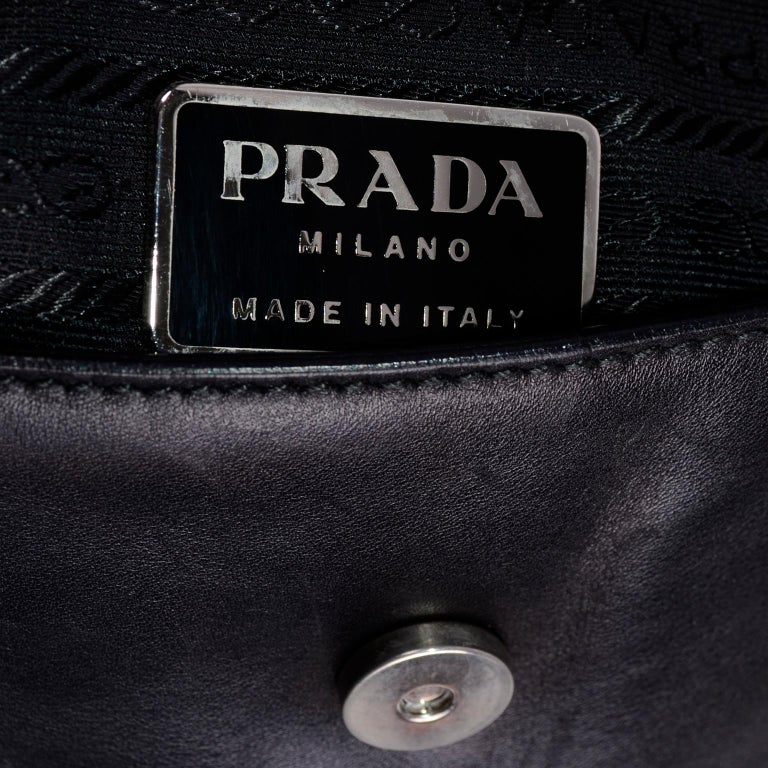 Prada Black Perforated Leather Top Handle Bag W Contrast Trim & Dust Bag  For Sale 9