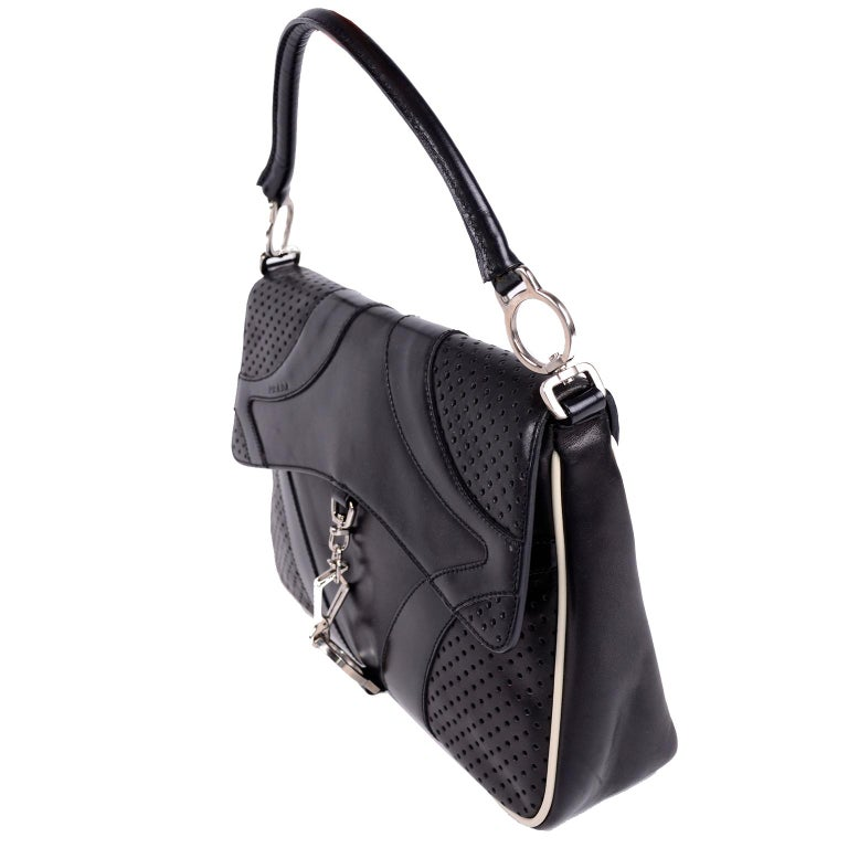 Prada Black Perforated Leather Top Handle Bag W Contrast Trim & Dust Bag  In Good Condition For Sale In Portland, OR