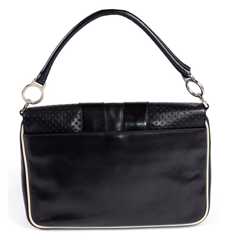 Women's Prada Black Perforated Leather Top Handle Bag W Contrast Trim & Dust Bag  For Sale
