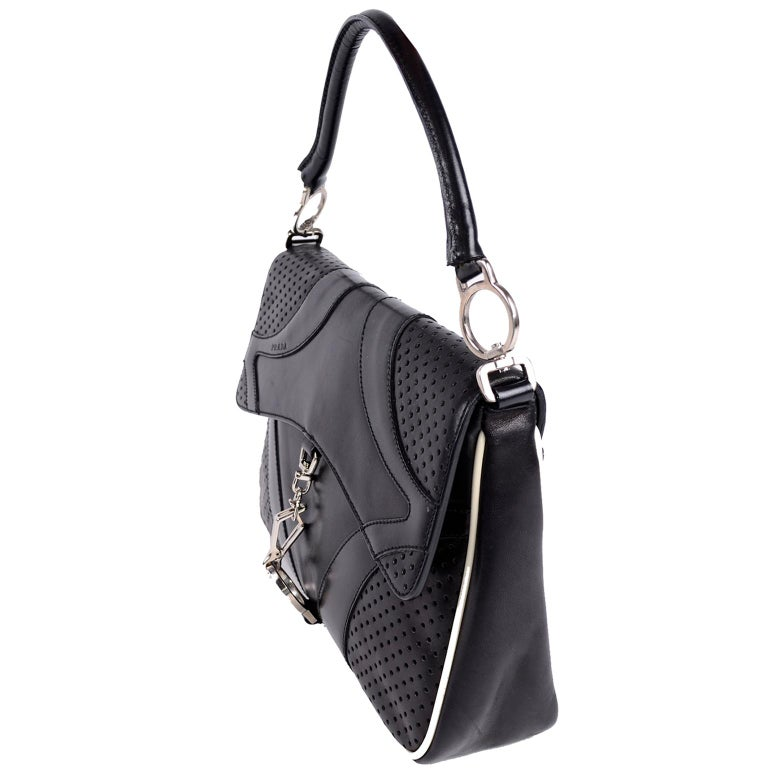 Prada Black Perforated Leather Top Handle Bag W Contrast Trim & Dust Bag  For Sale 1