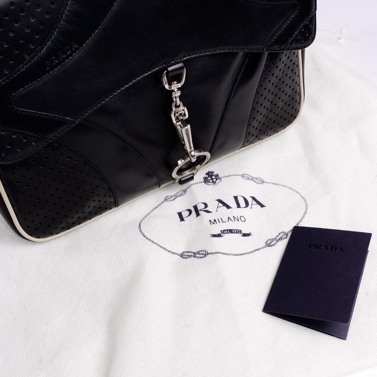Prada Black Perforated Leather Top Handle Bag W Contrast Trim & Dust Bag  For Sale 2