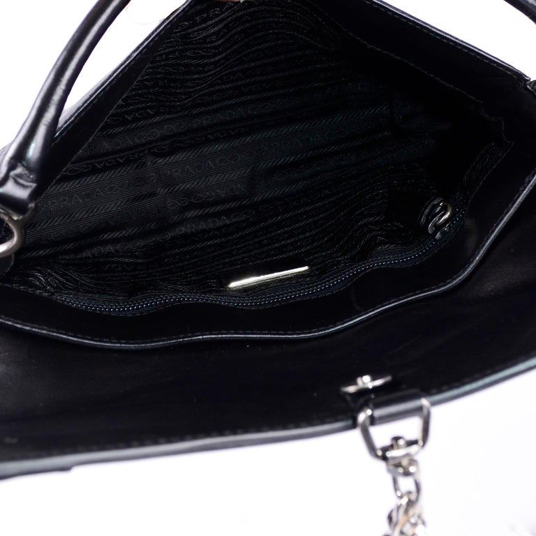 Prada Black Perforated Leather Top Handle Bag W Contrast Trim & Dust Bag  For Sale 3