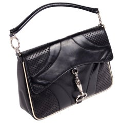 Prada Black Perforated Leather Top Handle Bag W Contrast Trim & Dust Bag