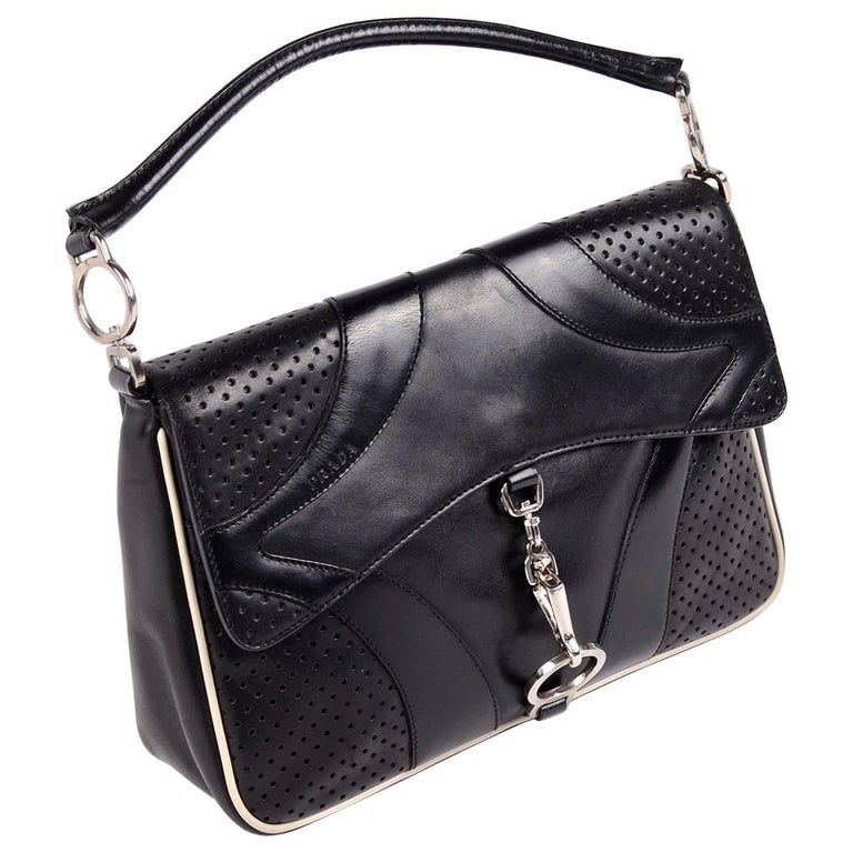 Prada Black Perforated Leather Top Handle Bag W Contrast Trim & Dust Bag  For Sale