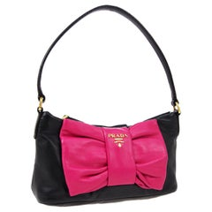 Prada Black Pink Bow Pochette Small Top Handle Evening Shoulder Flap Bag in Box