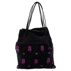Prada Black/Pink Printed Velvet and Suede Drawstring Pouch Bag