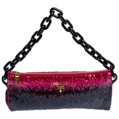 Prada Black/Pink Sequins Chain Clutch