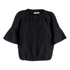 Prada Black Pleated Short Jacket	 SIZE 40