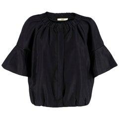 Prada Black Pleated Short Jacket Size US 4