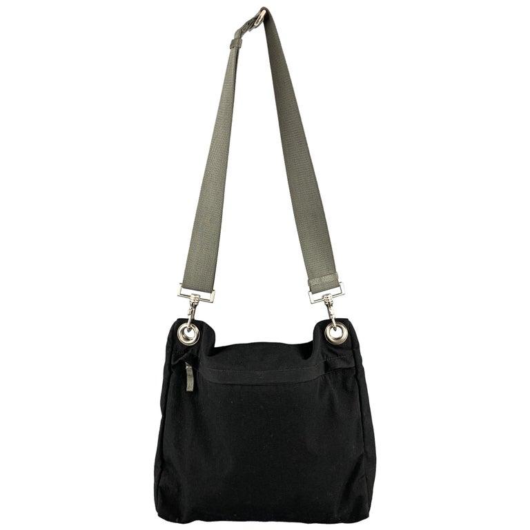 PRADA Black Polyamide Canvas Messenger Handbag For Sale