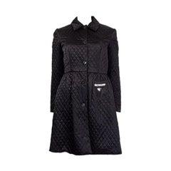 PRADA black polyamide QUILTED BELTE TRENCH Coat Jacket 38 XS