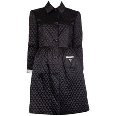 PRADA black polyamide QUILTED BELTE TRENCH Coat Jacket 40 S