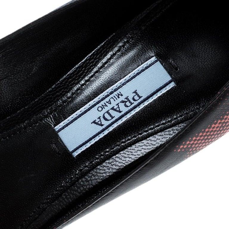 Prada Black Printed Leather Kitten Heels Pumps Size 36.5 For Sale 3