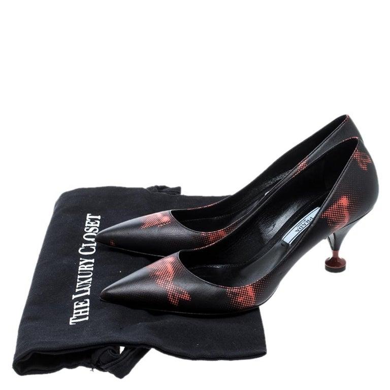 Prada Black Printed Leather Kitten Heels Pumps Size 36.5 For Sale 4