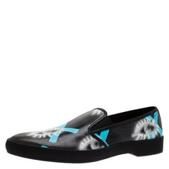 Prada Black Printed Leather Runway Slip On Sneakers Size 44.5