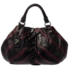 Prada Black/Purple Leather Ruffle Mordore Hobo