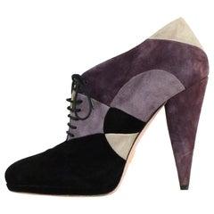 Prada Black Purple Suede Lace Up Booties sz 40