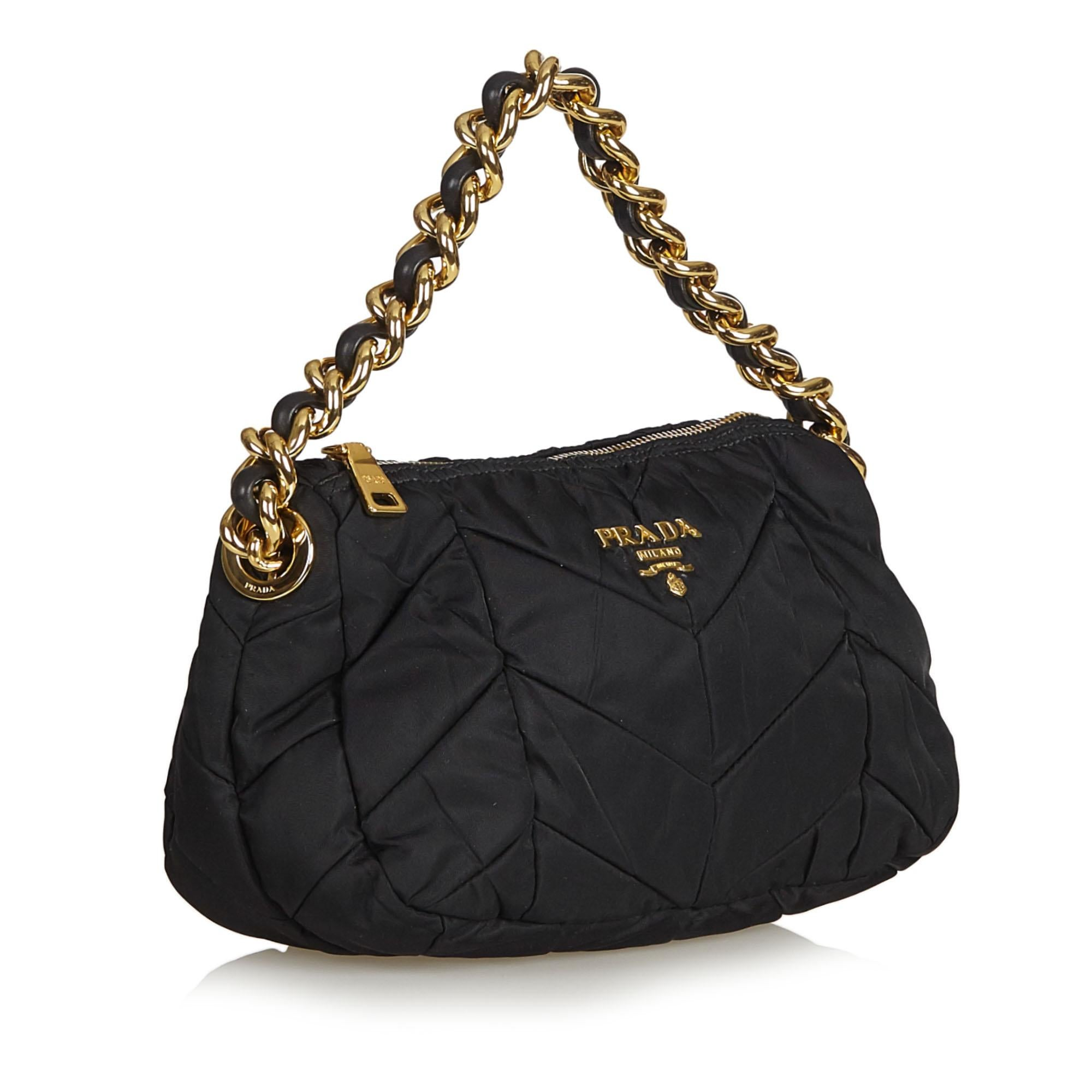 47981ce711f6 Prada Black Quilted Nylon Chain Shoulder Bag at 1stdibs