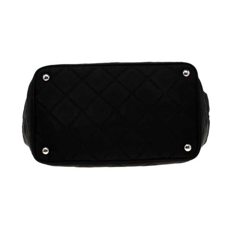Prada Black Quilted Nylon Shoulder Bag For Sale 6