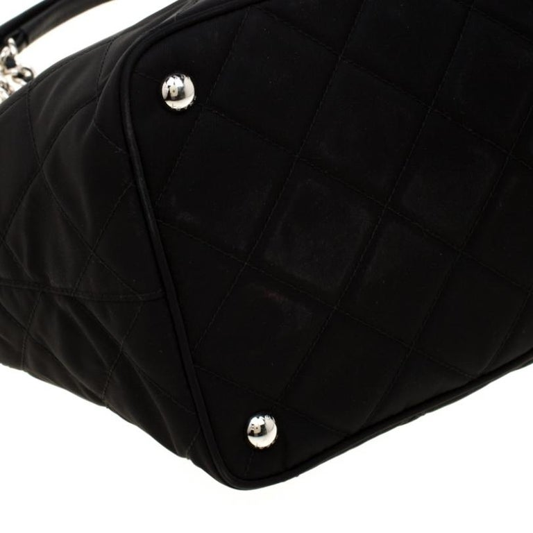 Prada Black Quilted Nylon Shoulder Bag For Sale 2