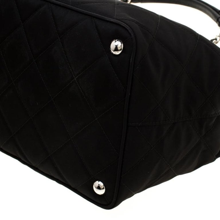 Prada Black Quilted Nylon Shoulder Bag For Sale 4