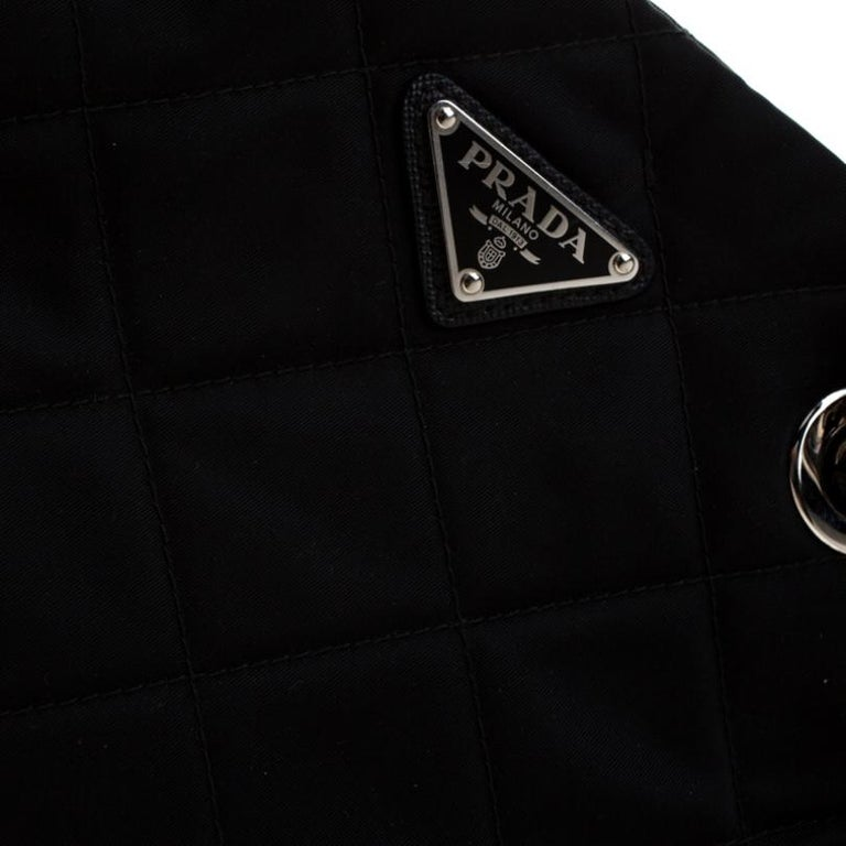 Prada Black Quilted Nylon Shoulder Bag For Sale 5